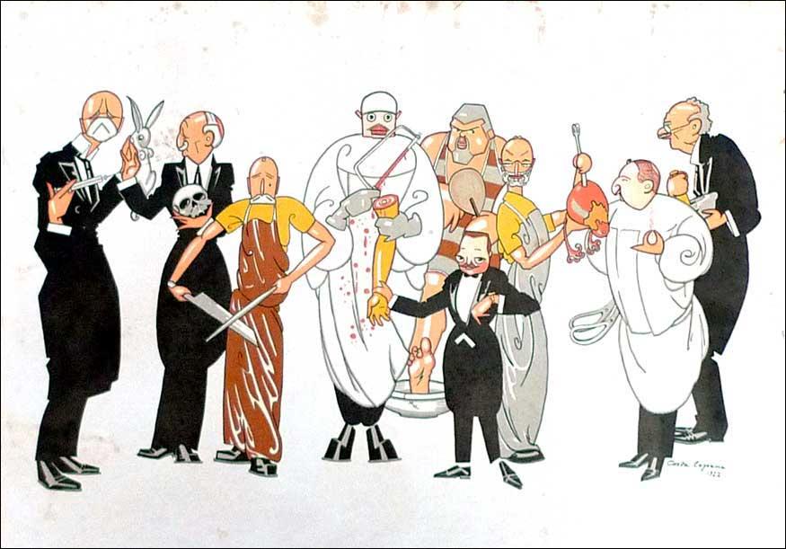 De la facultad de medicina de valencia en 1922. litografía de durá