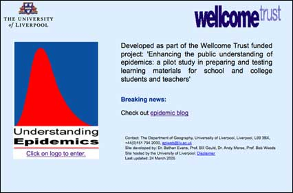 Captura de pantalla de la página principal